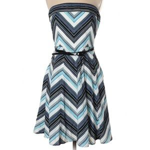 WHBM strapless blue fit and flare dress